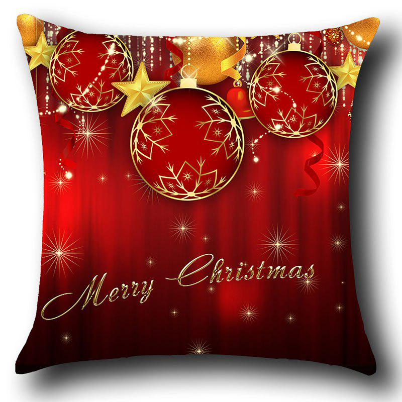 Christmas Baubles and Stars Printed Decorative Pillow Case - RED W12 INCH * L20 INCH