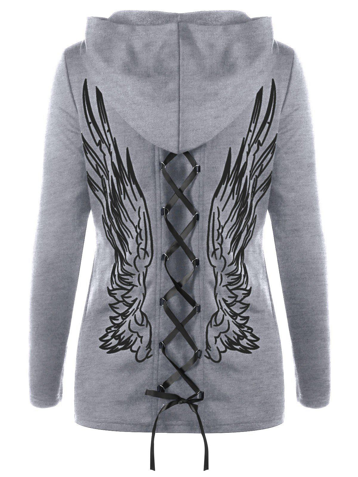 Double Lace-up Wings Print Zip Up Hoodie zip up camouflage panel hoodie and sweatpants