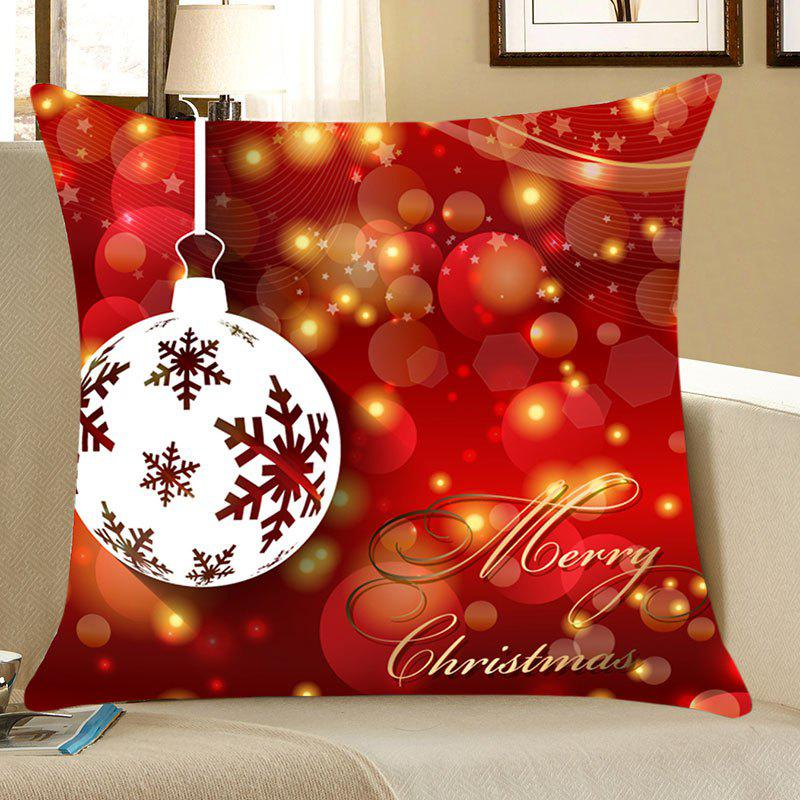 Christmas Baubles Printed Linen Pillow Case christmas cap printed holiday pillow case