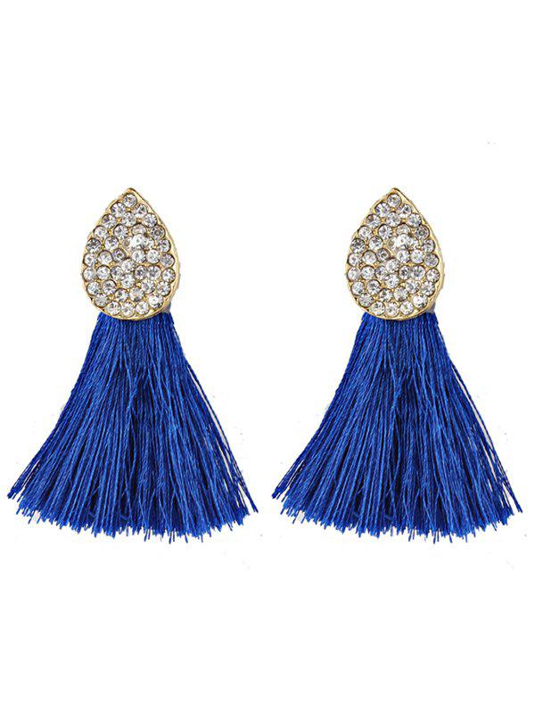 Pair of Water Drop Shape Rhinestone Embellished Tassel Earrings