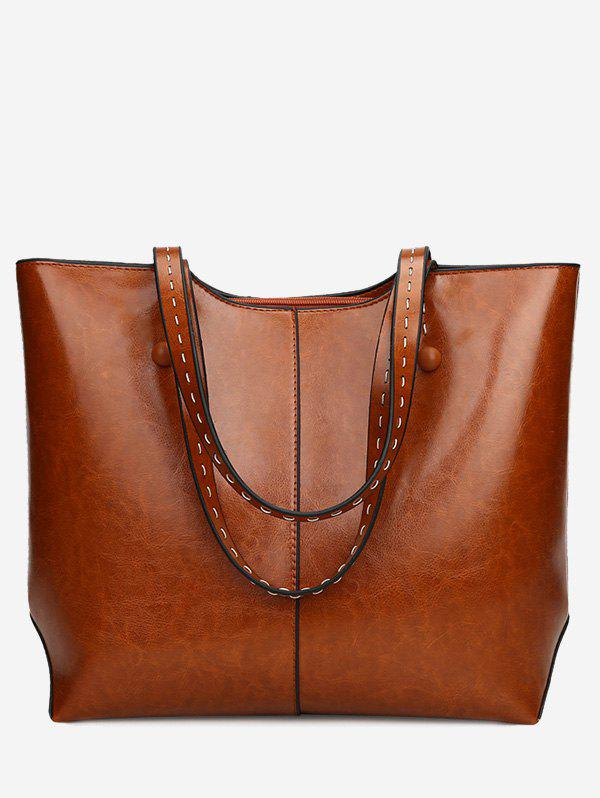 PU Leather Whipstitch Shoulder Bag - BROWN