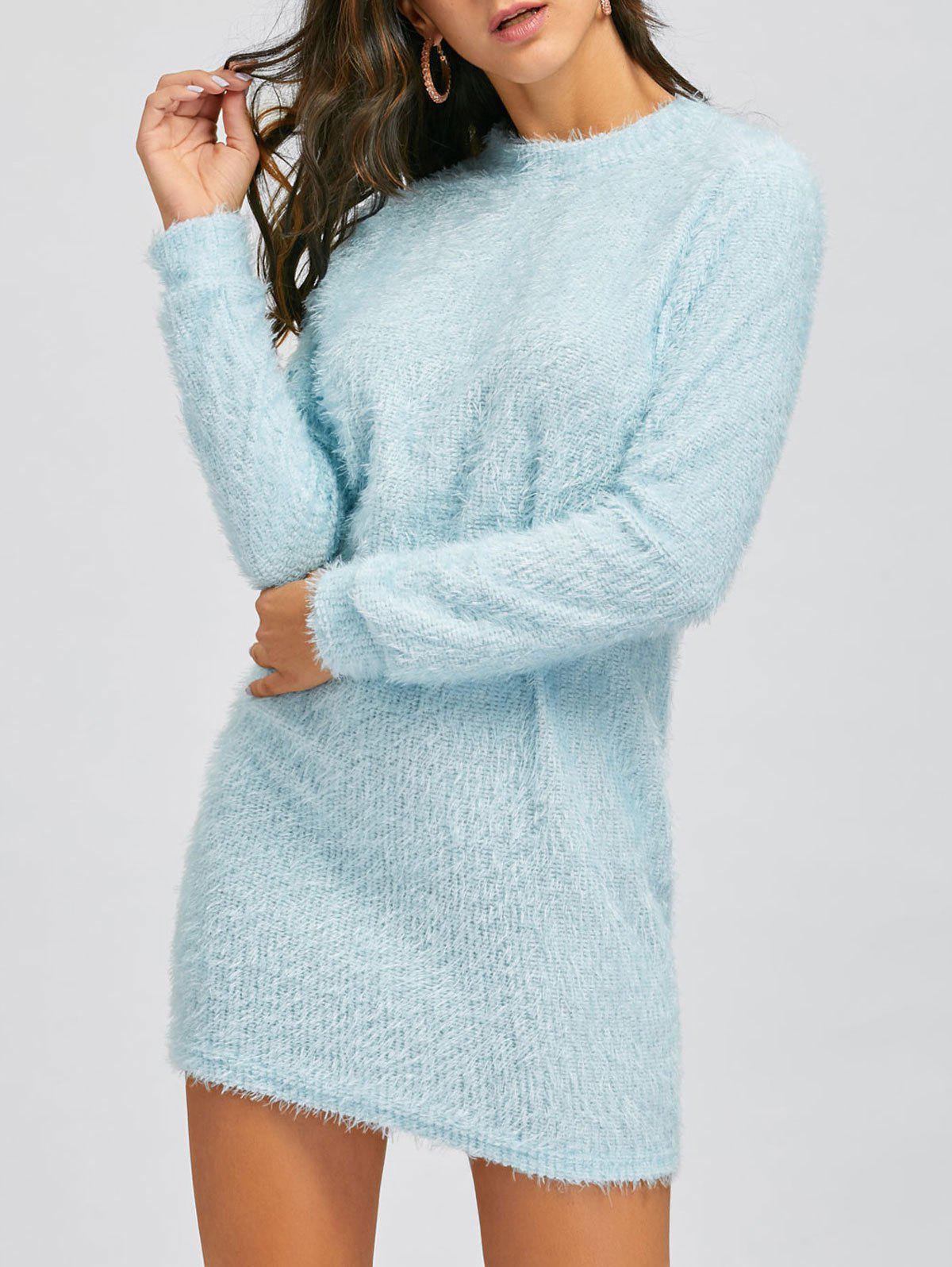 Short Fuzzy Sweater Dress - CLOUDY XL