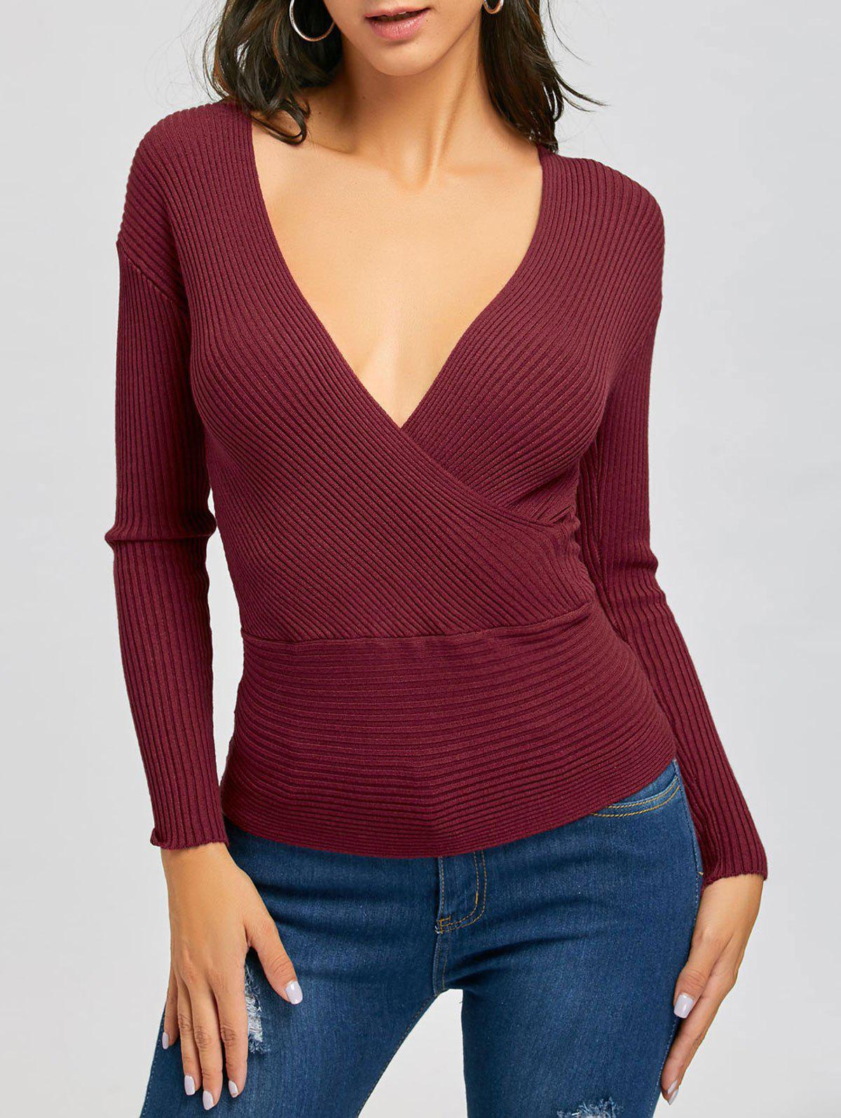 Plunging Neckline Ribbed Surplice Sweater - WINE RED ONE SIZE