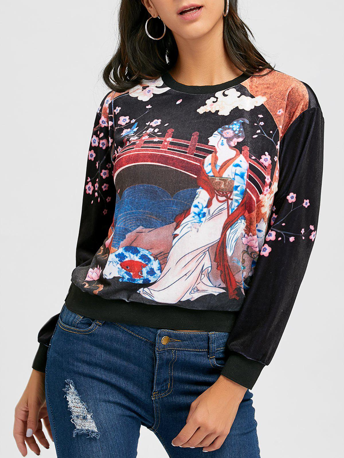 Crew Neck Printed Velvet Sweatshirt - BLACK S