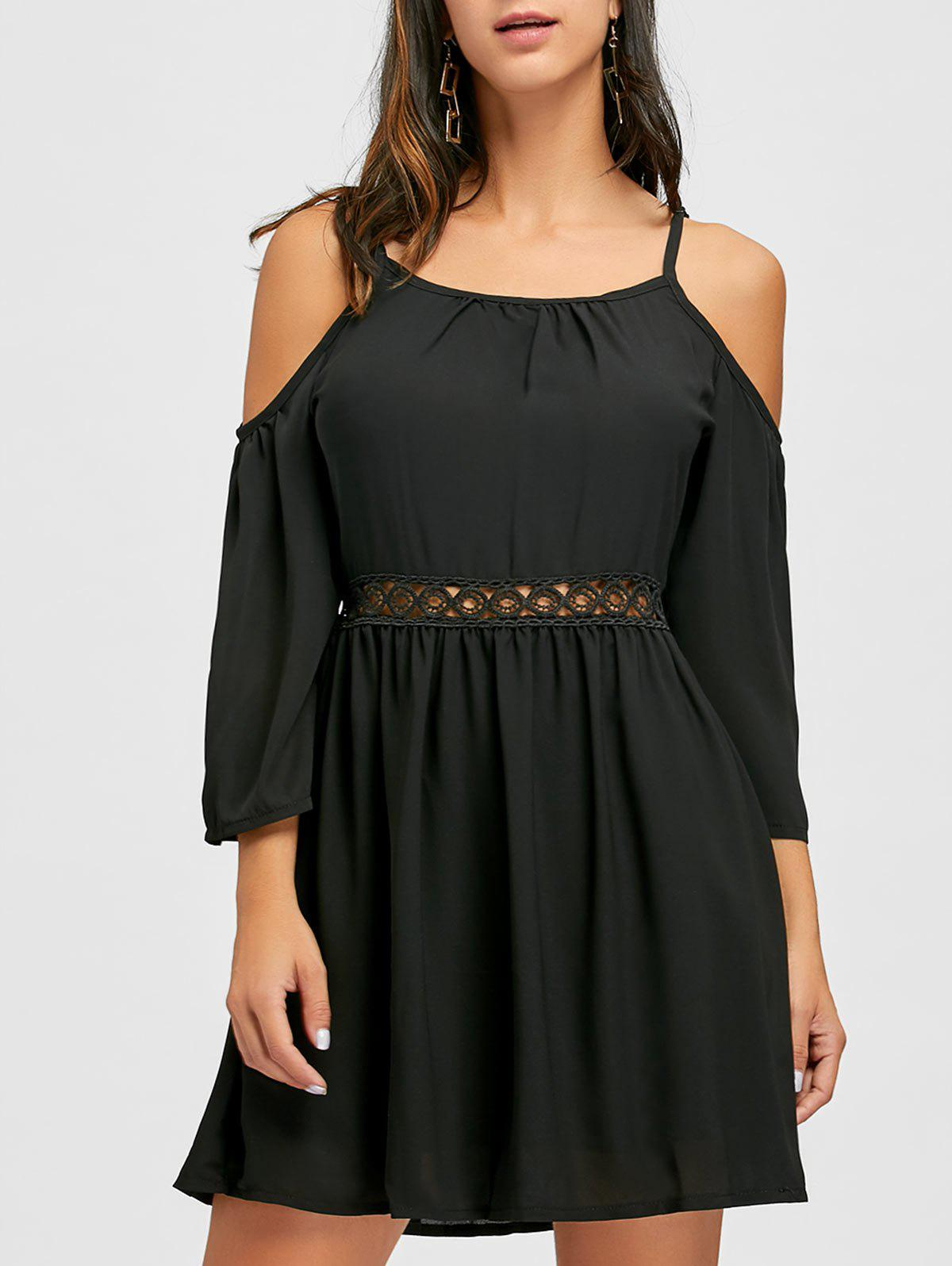 Cami Strap Open Shoulder Chiffon Dress - BLACK L