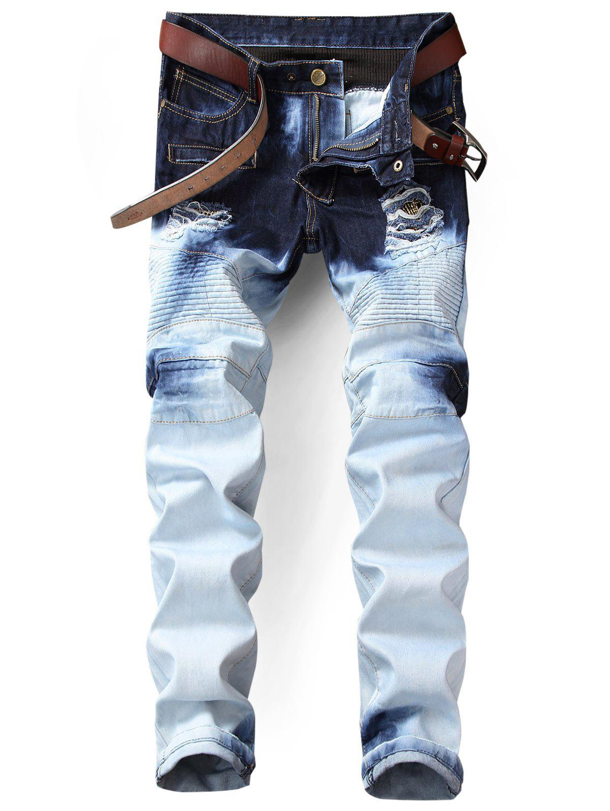 Zip Fly Tie Dyed Distressed Biker Jeans tiger embroidery distressed tie dyed jeans