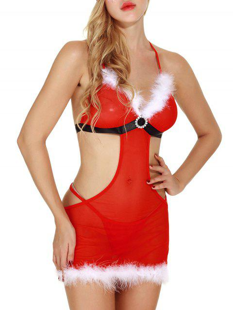 Christmas Romantic Cutout Feather See Through Santa Lingerie  Babydoll - RED 2XL