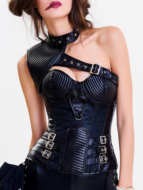 One Shoulder Cut Out Steel Boned Corset Top - BLACK M