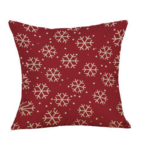Christmas Snowflakes Print Linen Pillowcase - RED W18 INCH * L18 INCH
