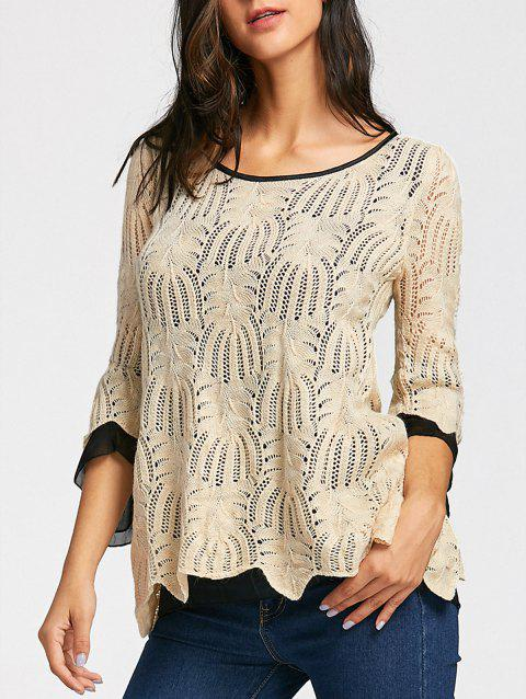 Mesh Panel Bell Sleeve Pineapple Crochet Knitwear - OFF WHITE ONE SIZE