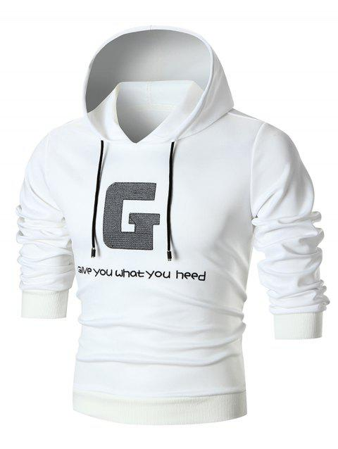 Graphic Embroidered Pullover Hoodie - WHITE L