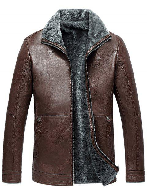Full Zip Flocking Faux Leather Jacket - BROWN 5XL