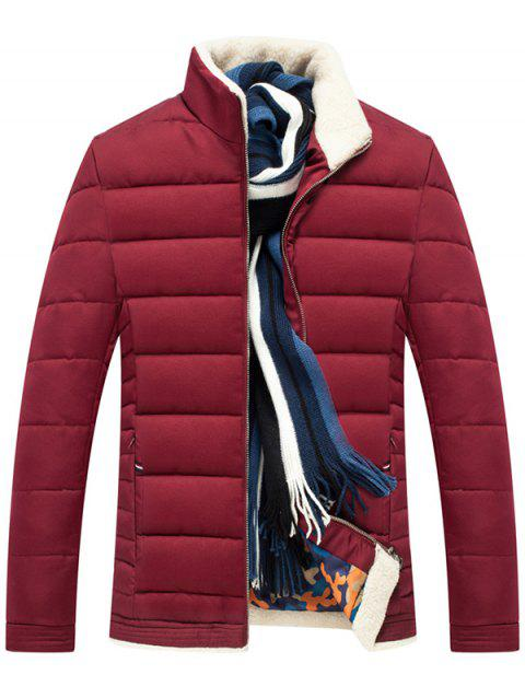 Zipper Up Stand Collar Quilted Jacket - WINE RED XL