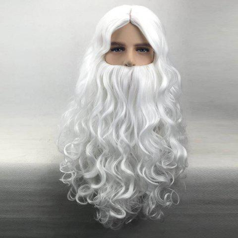 Middle Part Long Curly Christmas Santa Claus Wig With Beard - WHITE