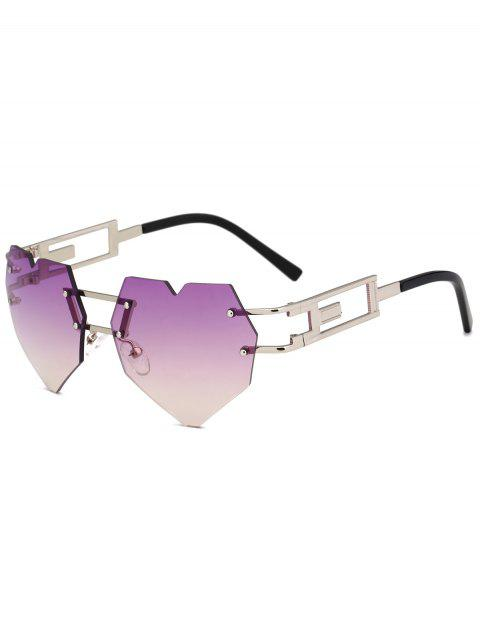 Outdoor Love Heart Decorated Hollow Frame Rimless Sunglasses - PURPLE