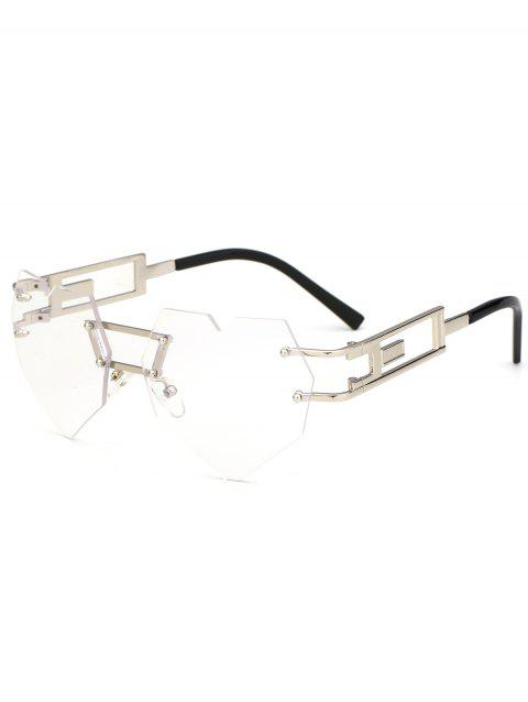 Outdoor Love Heart Decorated Hollow Frame Rimless Sunglasses - CLEAR WHITE