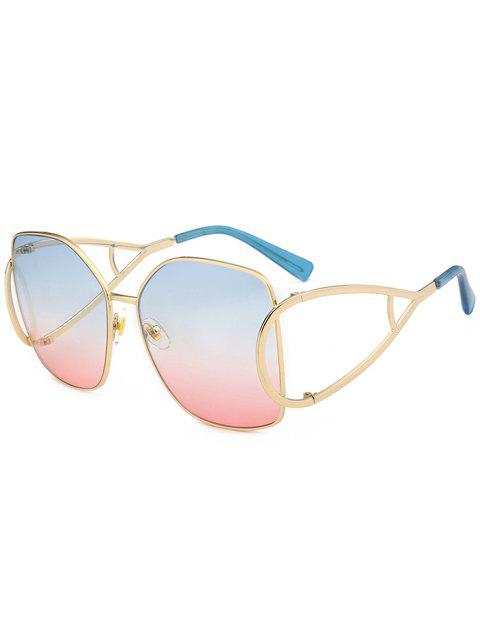 Vintage Hollow Out Decorated Full Frame Oversized Sunglasses - AZURE