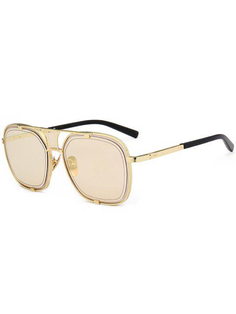 Vintage Metal Frame Hollow Out Decorated Polit Sunglasses - CHAMPAGNE GOLD