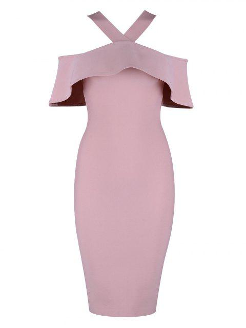 Ruffle Halter Knee Length Bandage Dress - PINK L
