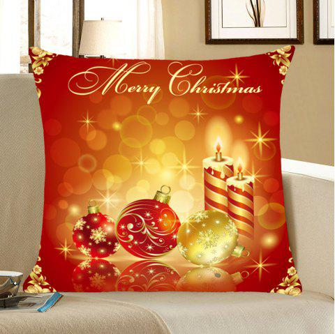 Christmas Snowflakes Balls And Candles Pattern Throw Pillow Case - RED/YELLOW W18 INCH * L18 INCH