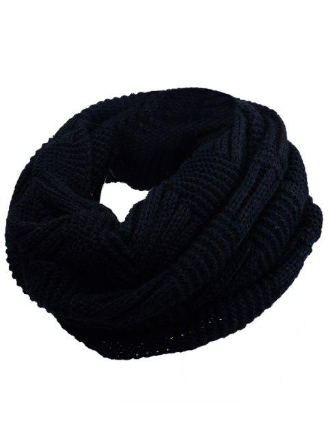 Soft Crochet Knitted Chunky Scarf - BLACK