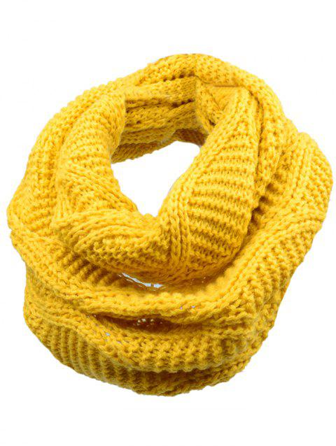 Outdoor Thick Ribbed Knit Winter Scarf - YELLOW