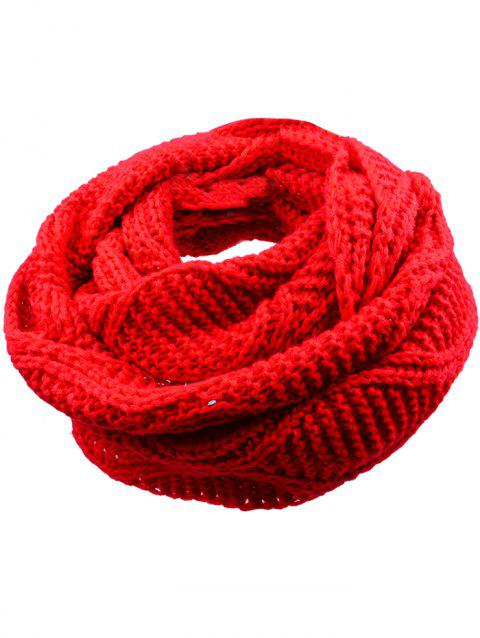 Outdoor Thick Ribbed Knit Winter Scarf - BRIGHT RED