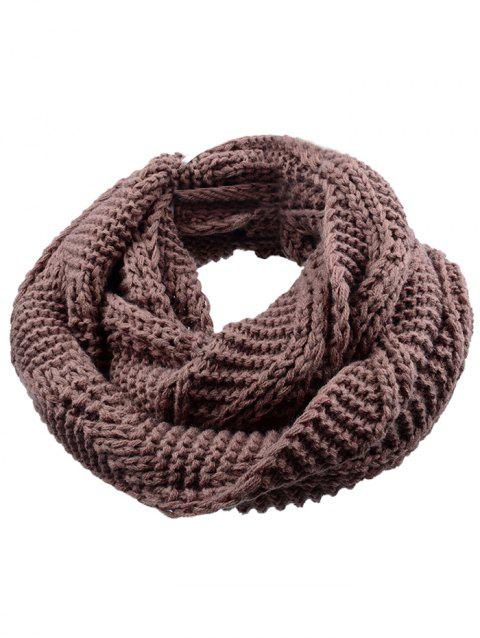 Outdoor Thick Ribbed Knit Winter Scarf - DEEP BROWN