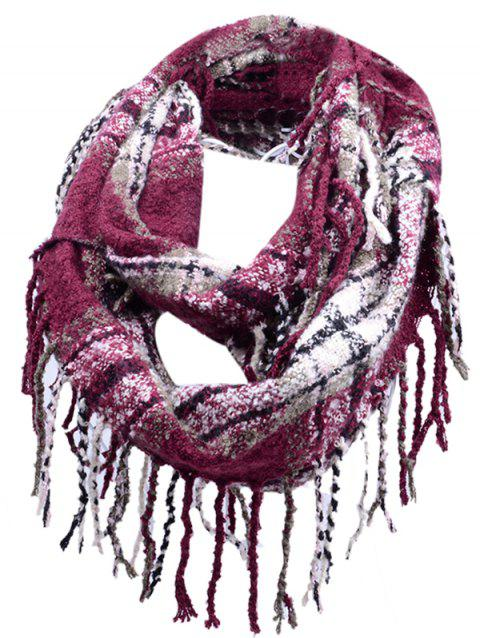 Soft Fringed Edge Embellished Artificial Cashmere Scarf - CLARET
