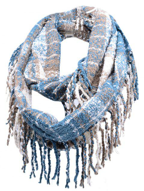 Soft Fringed Edge Embellished Artificial Cashmere Scarf - WINDSOR BLUE
