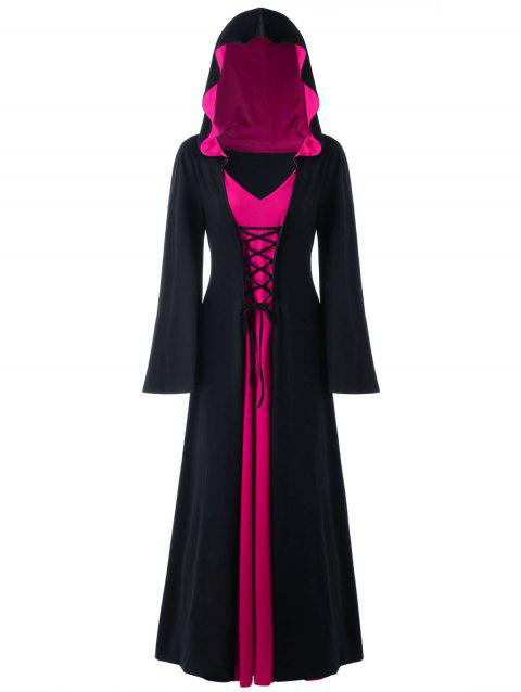Plus Size Hooded Lace Up Maxi Dress - BLACK / ROSE 5XL