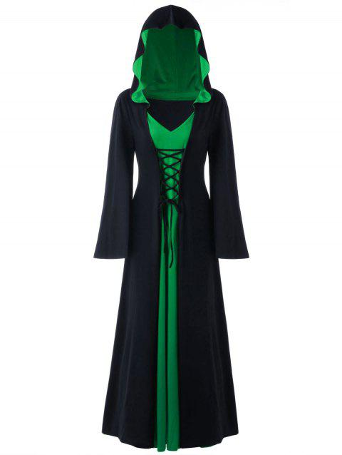 Plus Size Hooded Lace Up Maxi Dress - BLACK/GREEN 5XL