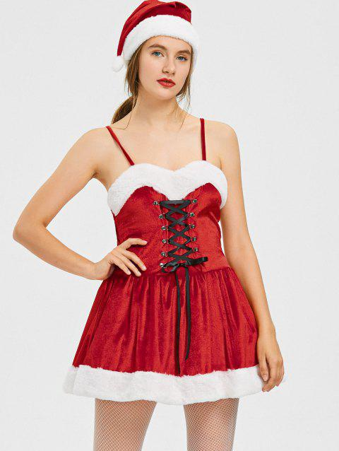Christmas Lace Up A Line Mini Dress - RED L