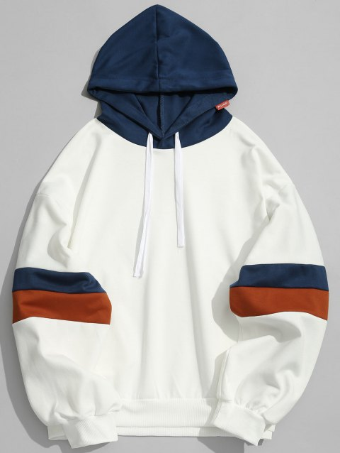 Pullover Contrast Color Hoodie - WHITE L
