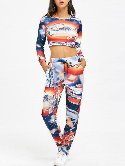 67c1405153544 41% OFF] 2019 Graphic Cropped Sweatshirt And Drawstring Pants In ...