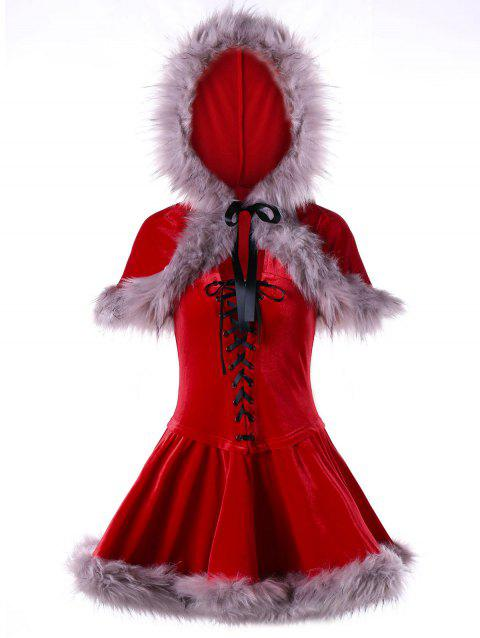 Ugly Christmas Velvet Lace Up Cape Dress - RED M