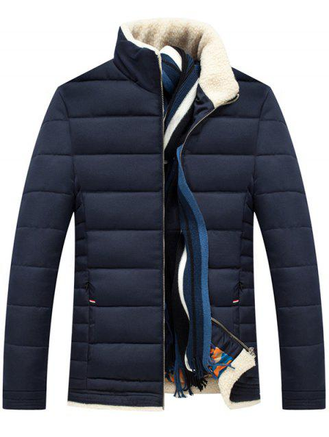 Zipper Up Stand Collar Quilted Jacket - PURPLISH BLUE 3XL