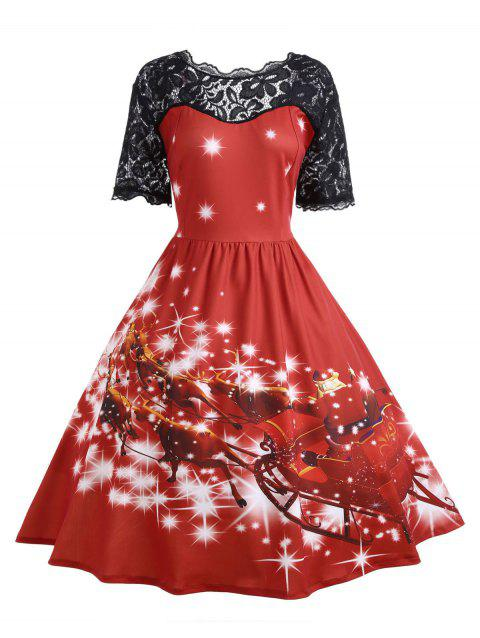 Plus Size Lace Panel Father Christmas Midi Party Dress - RED 3XL