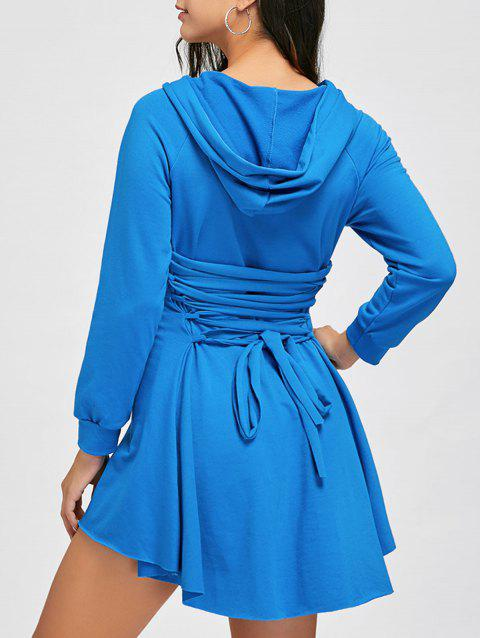 8fb966ba89 2019 High Low Back Lace Up Hooded Dress In WINDSOR BLUE M ...