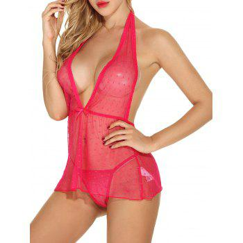 Mesh See Through Plunge Halter Babydoll Lingerie - RED XL