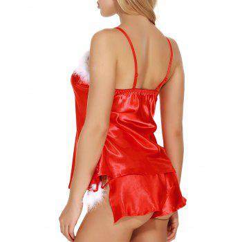Satin Feather Camisole Top Santa Sleepwear Set - RED L