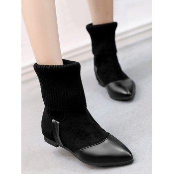 Pointed Toe Flat Heel Boots - BLACK 36