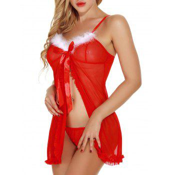 Flounce Front Slit See Through Christmas Lingerie Babydoll - RED L