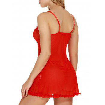 Flounce Front Slit See Through Christmas Lingerie Babydoll - RED RED