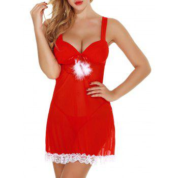 Padded Plunge Lace Trim Sheer Santa Lingerie Babydoll - RED RED