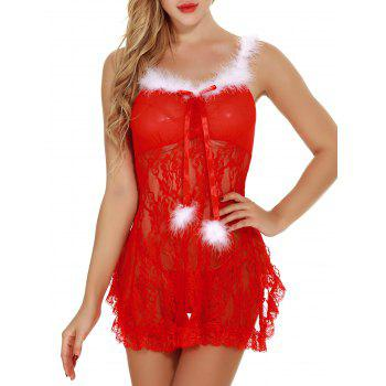 Back Slit See Through Lace Christmas Lingerie Babydoll - RED RED