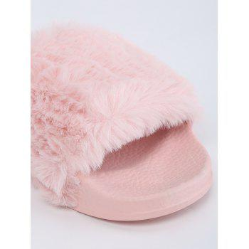 Open Toe Faux Fur Slippers - PINK 37