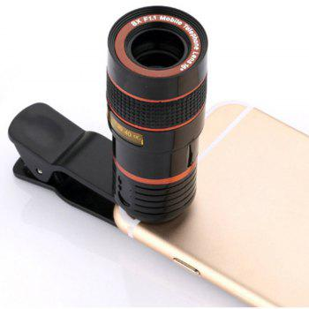 Universal 8X Optical Zoom Clip Mobile Phone Telescope - BLACK