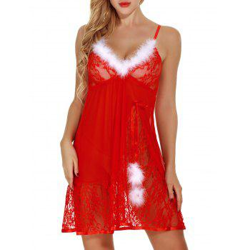 Feathers See Through Lace Santa Lingerie Babydoll - RED RED