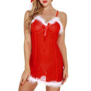 Sheer Mesh Santa Lingerie Babydoll with Feathers - RED M